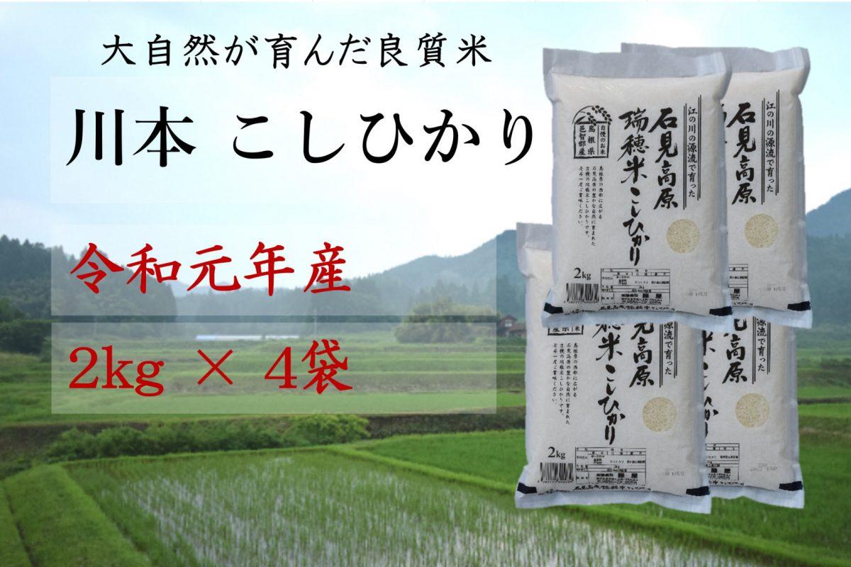 写真1:【先行予約!令和元年新米】しまね川本 コシヒカリ2kg×4袋