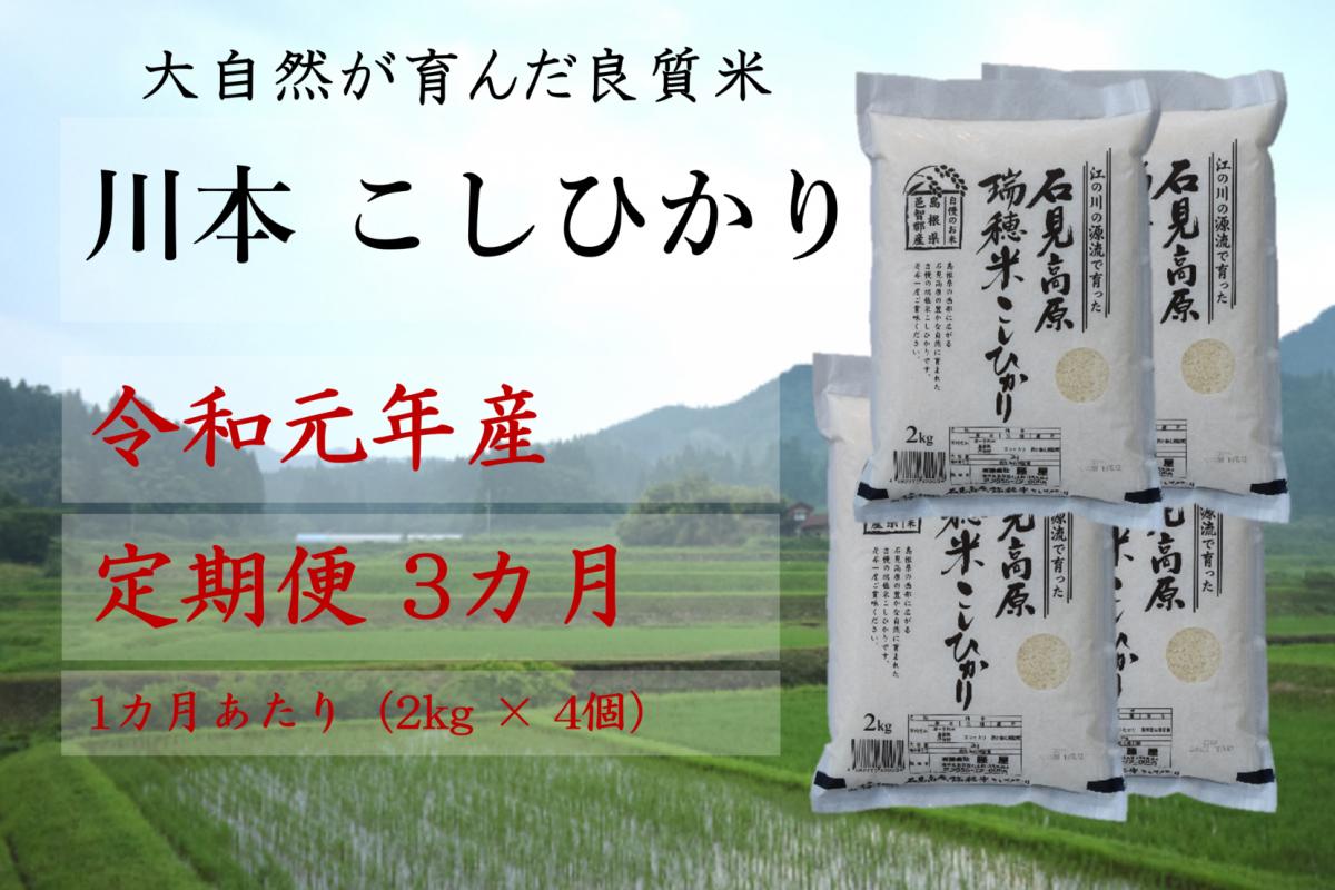 写真1:【先行予約!令和元年新米/お米定期便/3ヵ月】しまね川本コシヒカリ2kg×4袋 (計24kg)