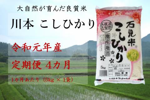 【先行予約!令和元年新米/お米定期便/4ヵ月】しまね川本コシヒカリ5kg(計20kg)