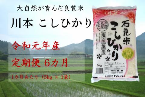 【先行予約!令和元年新米/お米定期便/6ヵ月】しまね川本コシヒカリ5kg(計30kg)