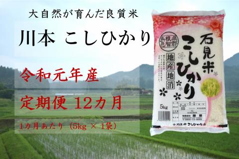 【先行予約!令和元年新米/お米定期便/12ヵ月】しまね川本コシヒカリ5kg(計60kg)