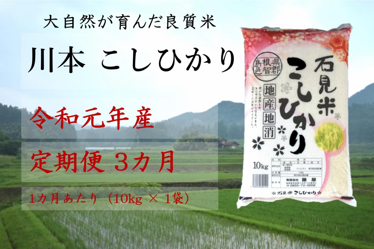 写真1:【先行予約!令和元年新米/お米定期便/3ヵ月】しまね川本コシヒカリ10kg(計30kg)