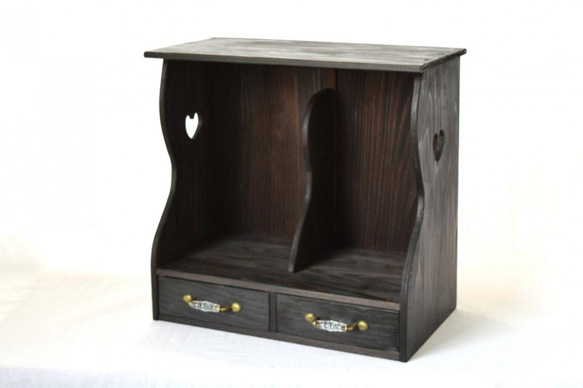 写真1:【老舗家具店の手作り】小引出付マガジンラック (ブラック)