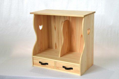 【老舗家具店の手作り】小引出付マガジンラック (白木)