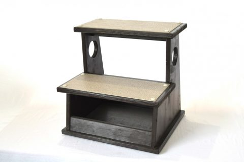 【地元老舗家具店の手作り】踏み台(2段)ブラック