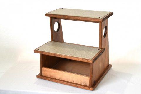 【地元老舗家具店の手作り】踏み台(2段)ブラウン