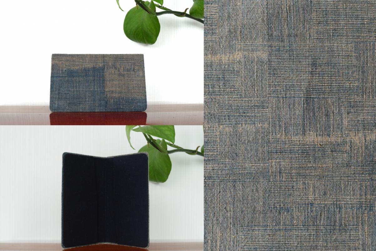 写真1:【石見織】名刺入(二ツ折/色:藍、茶綿/柄:網代風総絣)
