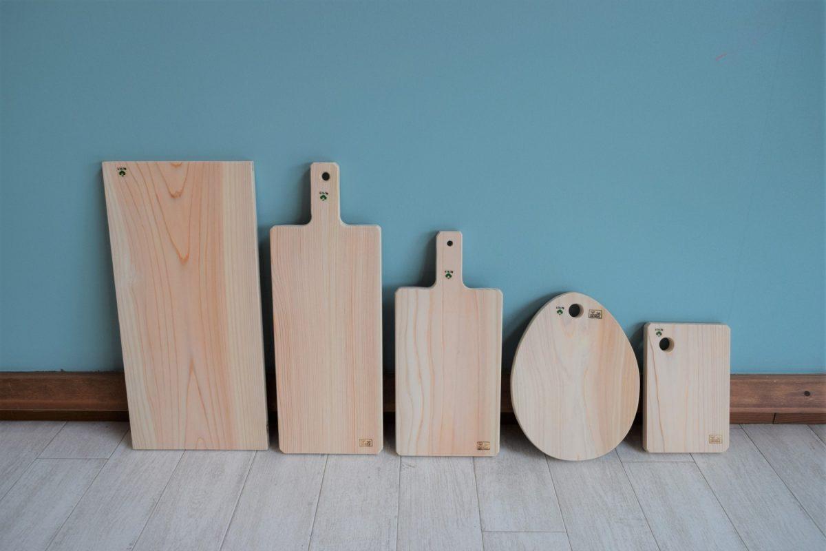 写真1:【老舗家具店の手作り】 俎板(まないた)5種セット